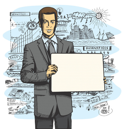 Idea concept. Vector Business man holding empty write board in his hands Vector