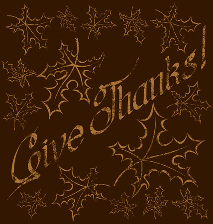 give thanks to: calligraphic text Happy Thanksgiving as card title