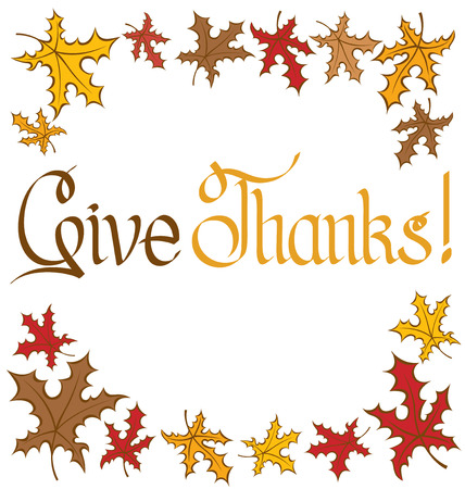 happy thanksgiving: calligraphic text Happy Thanksgiving as card title