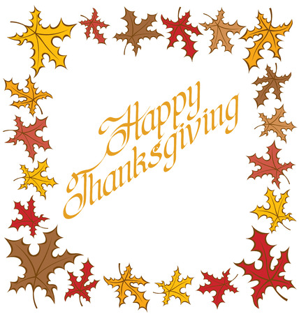 calligraphic text Happy Thanksgiving as card title Vector