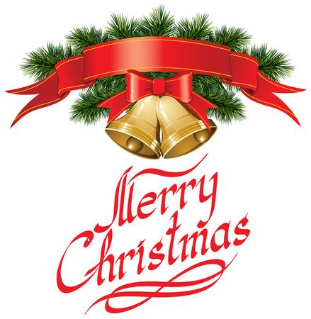 campanas de navidad: Campanas de la Navidad del vector con el árbol de Navidad, y la frase Feliz Navidad Vectores