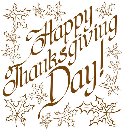 happy thanksgiving: Vector calligraphic text Happy Thanksgiving as card title