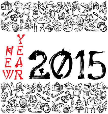 vector hieroglyph numbers 2015 and Christmas and New Year objects Vector