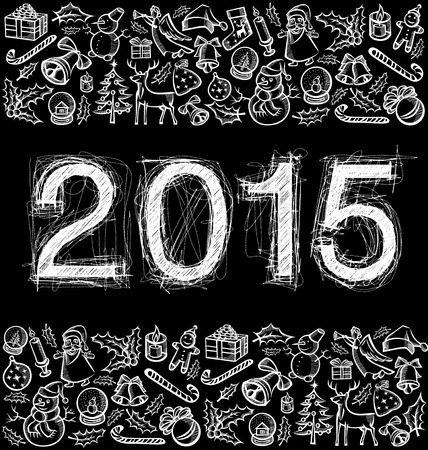 scetch: vector scetch numbers 2015 and Christmas and New Year objects Illustration