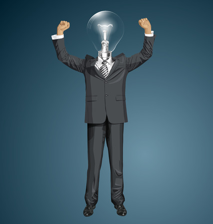 Vector happy lamp head businessman with hands up, celebrating his victory Vector