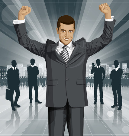 hooray: Vector happy businessman with hands up, celebrating his victory