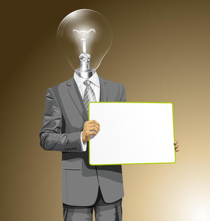 Idea concept. Vector lamp head business man holding empty write board in his hands Vector