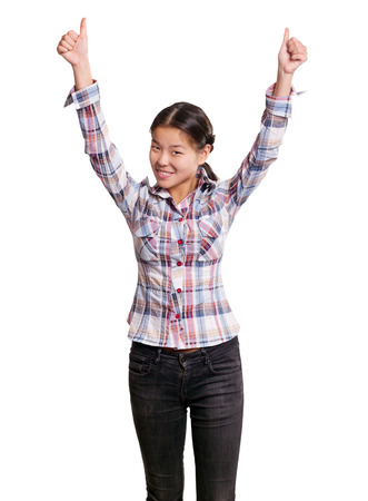 well done: Winning concept. Asian girl shows well done with both hands