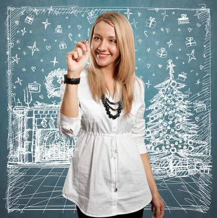 Woman looking for Christmas gifts and choosing it photo