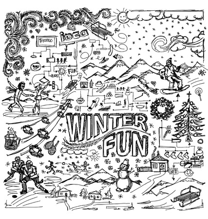 winter fun: Vector sketch background with winter fun, snow board, snowball fight, snowman, christmas, new year,  hockey, skating, sledge