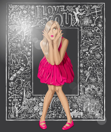 fashion story: Love concept. Vector surprised blond in pink dress against background with love story elements