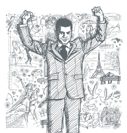 Love concept. Vector Sketch, comics style happy businessman with hands up, celebrating his victory, against background with love story elements Ilustração