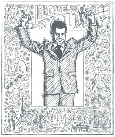 hooray: Love concept. Vector Sketch, comics style happy businessman with hands up, celebrating his victory, against background with love story elements Illustration