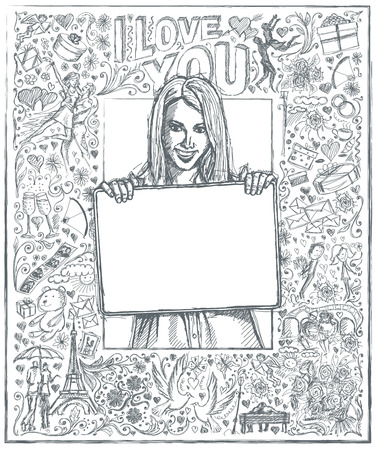 happy business woman: Love concept. Vector Sketch, comics style happy business woman holding blank white card in her hands, against background with love story elements