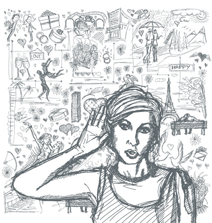 love very: Love concept. Vector Sketch, comics style female overhearing something with her ear and hand, very surprised, against background with love story elements