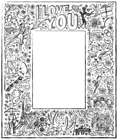 i love paris: Vector sketch frame background with love story elements, dancing couple, flowers, rings, cinema and dates