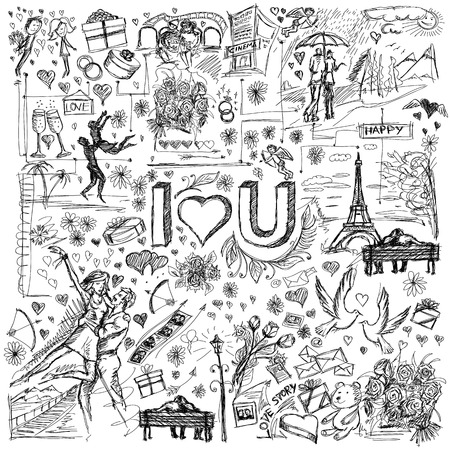 i love paris: Vector sketch background with love story elements, dancing couple, flowers, rings, cinema and dates