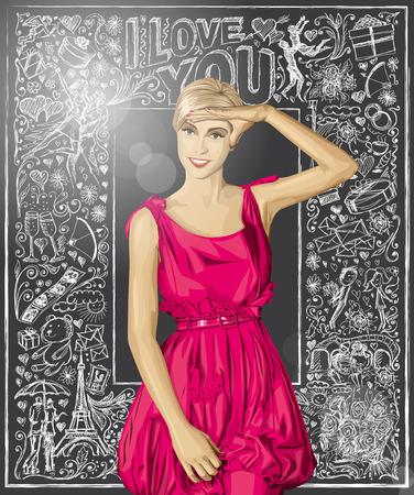 Love concept. Sale concept. Vector surprised blonde in pink dress against love story elements background Ilustrace
