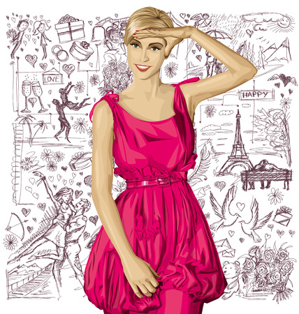 head i: Love concept. Sale concept. Vector surprised blonde in pink dress against love story elements background Illustration