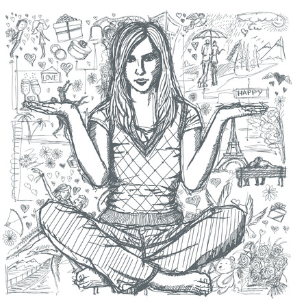 love story: Love concept. Vector Sketch, comics style woman in lotus pose with open hands, against background with love story elements