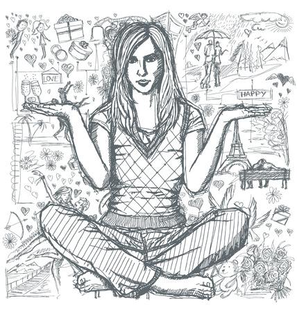 position d amour: Love concept. Vector Sketch, femme de style de bande dessinée en lotus pose avec les mains ouvertes, sur le fond avec des éléments histoire d'amour