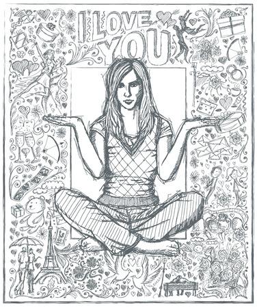 position d amour: Love concept. Vector Sketch, femme de style de bande dessin�e en lotus pose avec les mains ouvertes, sur le fond avec des �l�ments histoire d'amour