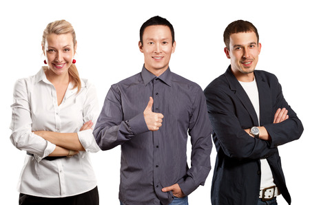 well done: Teamwork concept. Asian business man shows well done against different backgrounds Stock Photo