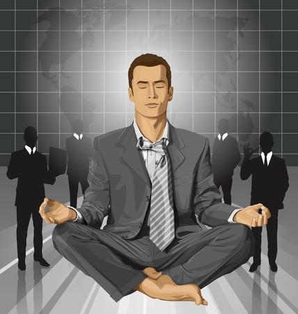 man meditating: Relax concept. Vector businessman in lotus pose meditating