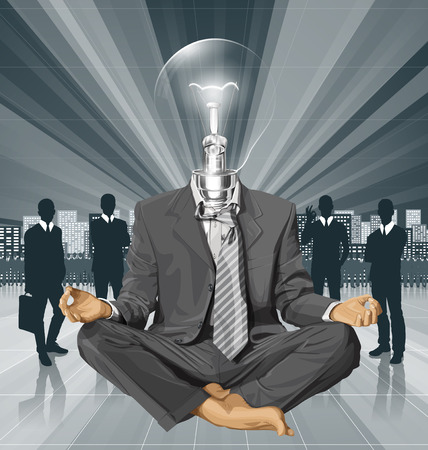 Relax concept. Vector lamp head businessman in lotus pose meditating  イラスト・ベクター素材