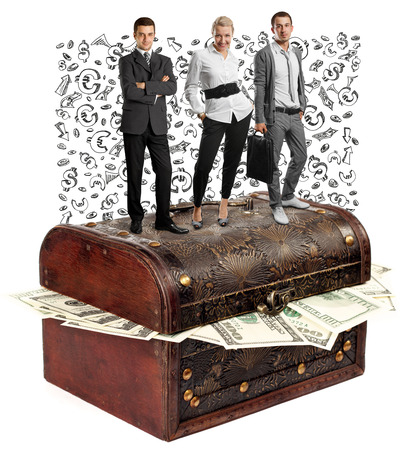 Business team and USA dollars in box, isolated on white background