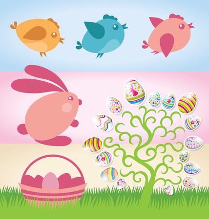 Vector Easter elements rabbit, eggs, cake, chicken Vector