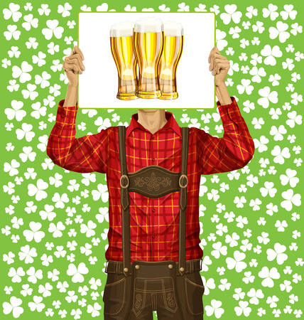 lederhosen: Idea concept. Vector Man with write board in lederhosen on St Patricks Day