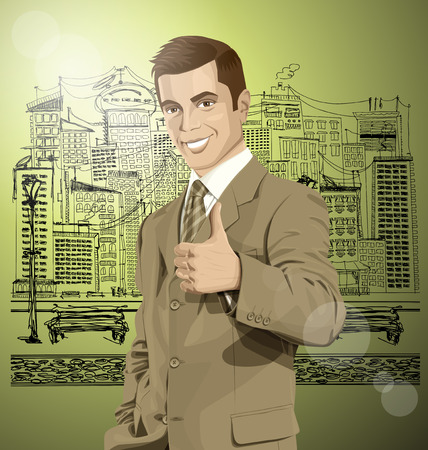 well done: Vector hipster business man shows well done on the sketch street