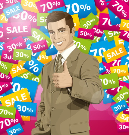 aucasian: Vector hipster business man shows well done on sale Illustration