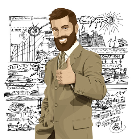 well done: Vector hipster business man with beard shows well done