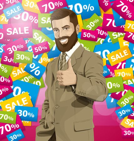 �aucasian: Vector hipster business man with beard shows well done on sale