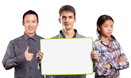 Team and male with write board in his hands isolated against different backgrounds photo