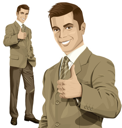 businessman suit: Vector hipster business man shows well done Illustration