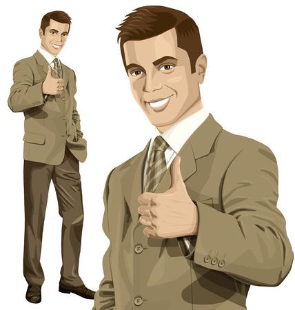 Vector negocio inconformista hombre muestra bien hecho Foto de archivo - 38422248