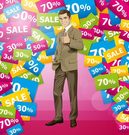 well done: Vector hipster business man shows well done on sale Illustration