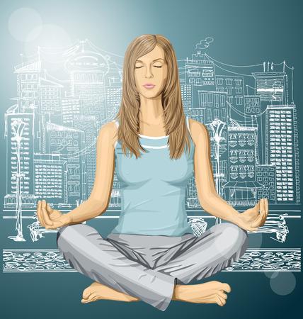 nude female: Vector woman meditating in lotus pose in city