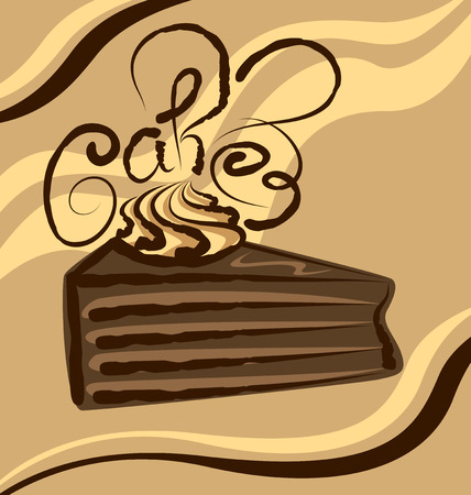 vector chocolate cake with calligraphic inscription Vector