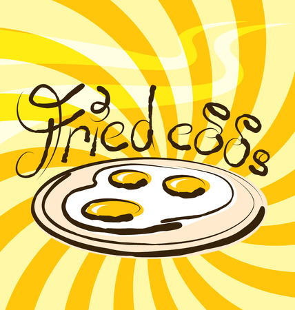 aroma: vector fried eggs with calligraphic inscription and aroma