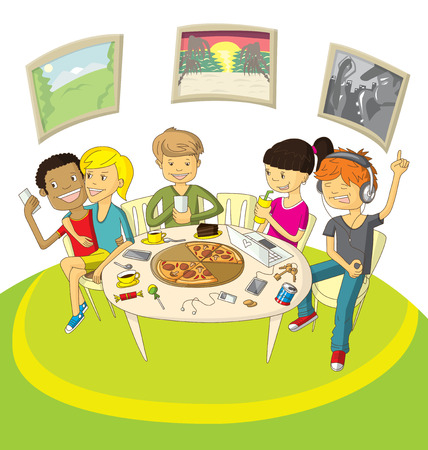have fun: Vector illustration with friends teenagers have fun in pizzeria Illustration