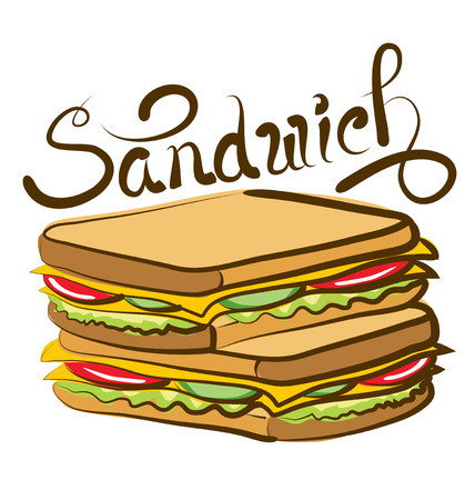 vector sandwich with calligraphic inscription