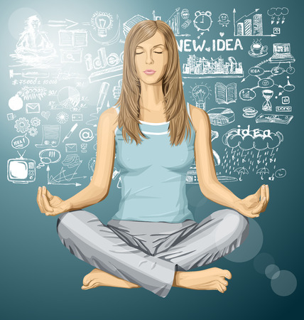 nude female: Vector woman meditating in lotus pose braistorming Illustration
