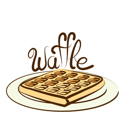 waffle: vector waffle with calligraphic inscription