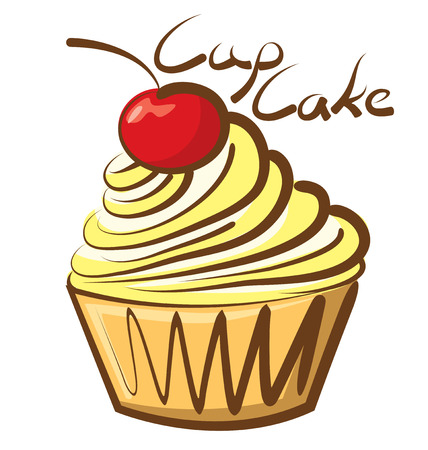 vector cupcake with calligraphic inscription Vector