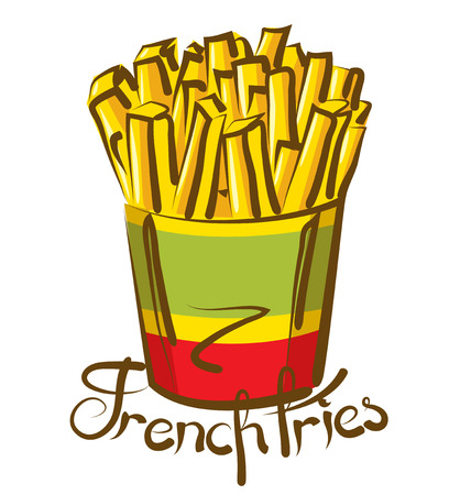 french symbol: vector french fries with calligraphic inscription Illustration
