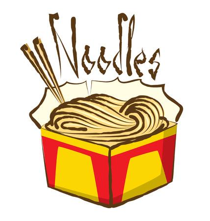 chinese fast food: vector tallarines chinos con inscripci�n caligr�fica